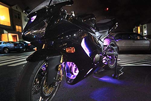 Multi-Color Accent Glow Neon Strips w//Switch for Sport-Street 10pc Aura Motorcycle LED Light Kit