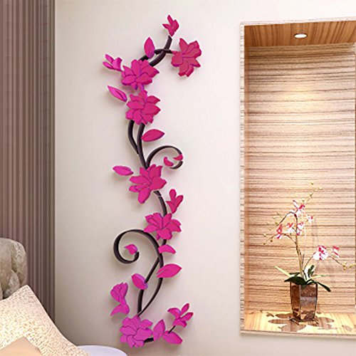 Adarl DIY 3D Crystal Arcylic Wall Stickers Modern Removable Wall Art Floral Design For Home Decor (Flower Wall Decor Crystal)
