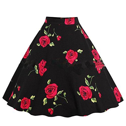 Mini Soire Taille Party t Jupe Elegante de Femme Haute Jupes Vintage Cocktail Imprime Noir2 Plisse wgwx4qRI