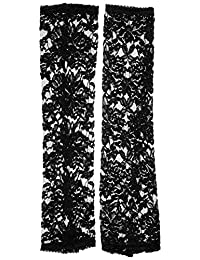 MUSIC LEGS Women's Extra Long Fingerless Lace Gloves, Black, One Size