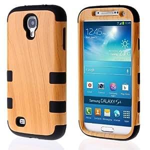 SHHR-HXS4N15N Luxury 3 in 1 Wood Grain Design Hybrid case for Samsung Galaxy S4 I9500-Black Silicone