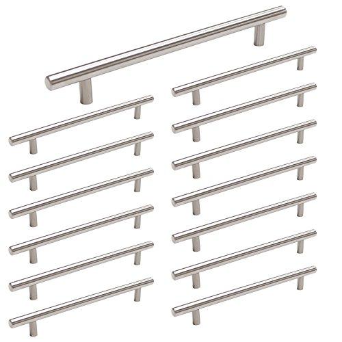 homdiy Kitchen Cabinet Pulls Brushed Nickel 15 Pack 7-1/2in Metal Cabinet Handles - HD201SN Kitchen Cabinet Hardware Pulls T Bar Drawer Pulls Nickel Drawer Handles for Bathroom,Closet
