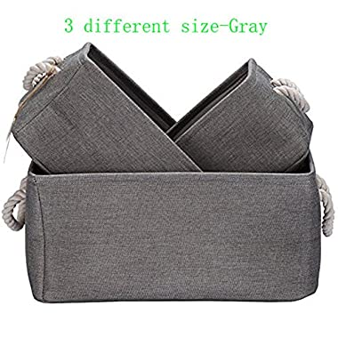 Foldable Multi-sized Square New 100% Natural Linen & Cotton Fabric Storage Bins Storage Baskets Organizers - Set of 3 (Grey)