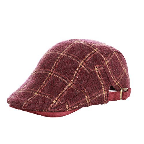 Vintage Logo Flat (Home Prefer Kids Classic IVY newsboy Cap Boy's Vintage Cabbie Cap Woolen Flat Cap Tarton Irish Cap Red #54)