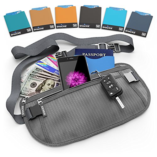 Shacke Money Belt Pouch w/ Slacker Clip Technology – RFID Passport & CC Card Sleeves Included (Gray)