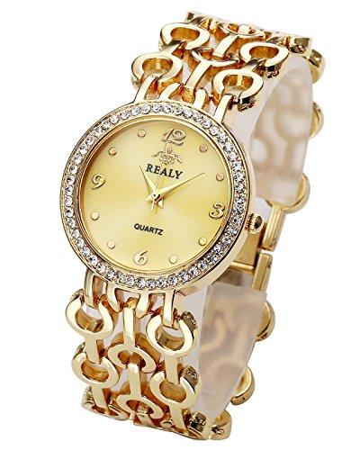 (Top Plaza Women Elegant Fashion Bracelet Analog Quartz Watch Gold Tone Rhinestone Case Big Face Large Dial Wide Band Waterproof Cuff Watch)