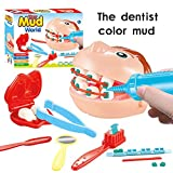 Ocamo 9Pcs/Set Dentist Pretend Play Toy Set Check Teeth Clay Mud Model Set Educational Role Play Simulation Learing Toys for Children Kids
