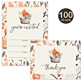Thanksgiving Dinner Invitations ( 100 ) & Folded Thank You Cards ( 100 ) Matched Set with Envelopes Best Value Large Family Meal Church Community Banquet Gatherings Fill-In Invites & Thank You Notes