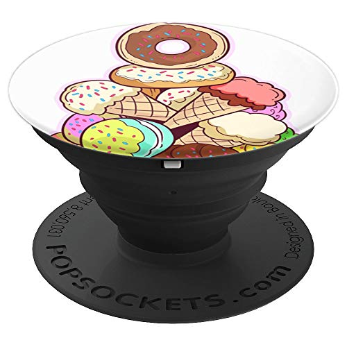 Cute Donut with Sprinkles Pattern for Foodie Dessert Lovers - PopSockets Grip and Stand for Phones and Tablets -
