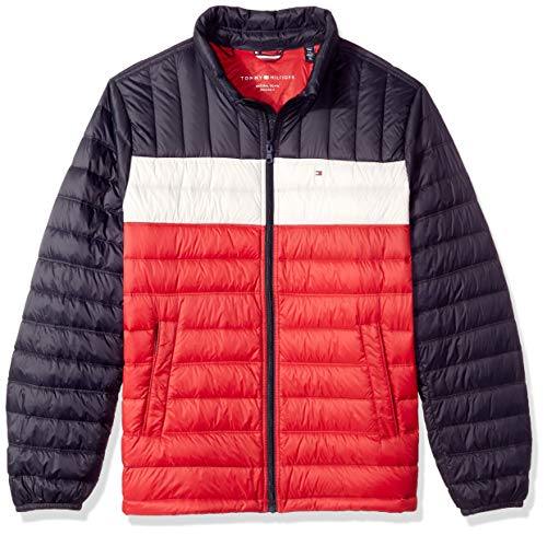 Tommy Hilfiger Men's Packable Down Jacket (Regular and Big & Tall Sizes), Midnight/White/red 2X - Zip Front Puffer