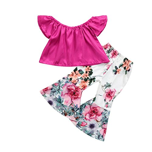 (G-real Toddler Girls Kids Solid Off Shoulder T-Shirt Tops+Flower Bell-Bottoms Pants (Hot Pink,)