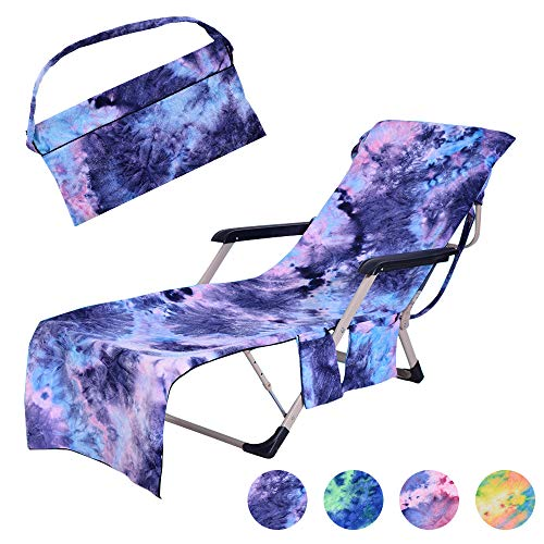 MIFXIN Beach Chair Cover with Side Pockets Tie Dye Microfiber Terry Chaise Lounge Chair Beach Towel Cover for Pool Sunbathing Vacation (Blue) (Terry Tie Dye)