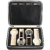 Mantello 8-Slot Portable Watch Travel Case Storage Organizer, Black