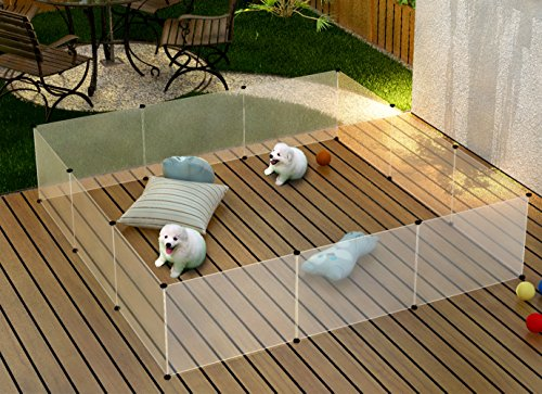 Tespo dog playpen portable large plastic yard fence for for Fiberon decking cost per square foot
