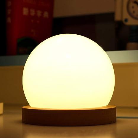 BLOOMWIN Lámpara de Mesa Lámpara de Mesilla de Noche Led Regulable Luz Nocturna Bola para Dormitorio Bebé Niños Escritorio Oficina Decoración ...