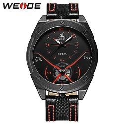 Men Fashion Sport Military Oversize Analog Digital Quartz Watch With Nylon Strap Dual Time Zone Clock (red)