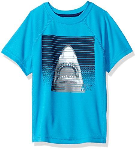 ZeroXposur Big Boys' Shark Stripes Rashguard W/UPF 50+, Deep Aqua, L-14/16