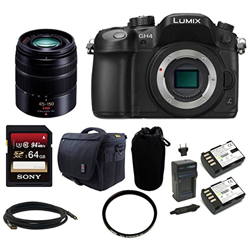 Panasonic LUMIX DMC-GH4K DMC-GH4KBODY GH4 16.05MP Digital Single Lens Mirrorless Camera (Body) + Panasonic H-FS45150K Lumix G Series Lens (Black) + Sony 64GB SDHC Class 10 Memory Card + Card Reader + Camera Bag + Replacement Battery and Charger + Deluxe Ac (Gh4 Bundle Lumix)