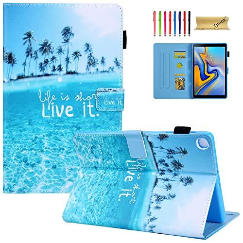 Galaxy Tab A 10.1 2019 Case SM-T510, Dteck Tablet Cover for Samsung Tab A 10.1 2019, Slim Fit Cute Cartoon Folio Stand Smart Shell Protective Case for Samsung Tab A 10.1 SM-T510, Summer Beach