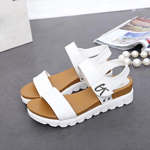Sandales Plates-formes Inkach Femmes - Mode Dames Dété Coin Sandales Plates Cheville Boucle Chaussures Blanc