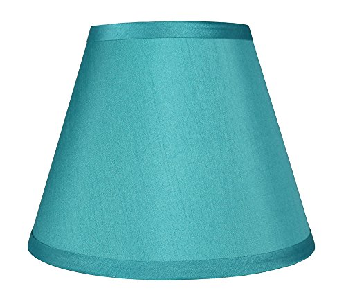 Urbanest Coolie Hardback Lampshade, Faux Silk, 5-inch by 9-inch by 7-inch, Teal, Spider Washer Fitter