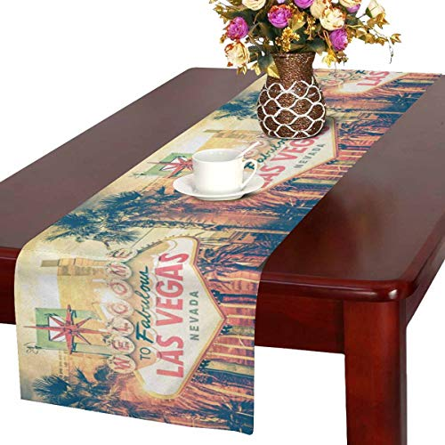 InterestPrint Vintage Las Vegas Boulevard Entrance Sign City View Table Runner Cotton Linen Cloth Placemat for Office Kitchen Dining Wedding Party Banquet 16 x 72 Inches