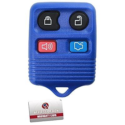 KeylessOption Blue Replacement 4 Button Keyless Entry Remote Control Key Fob Clicker: Automotive