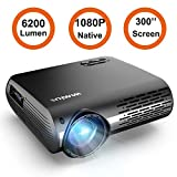 Projector, WiMiUS P20 Native 1080P LED Projector 6200 Lumen Video Projector Support 4K Video Zoom Function ±50°Digital Keystone Correction 70,000 Hrs for Home Entertainment & PPT Business Presentation