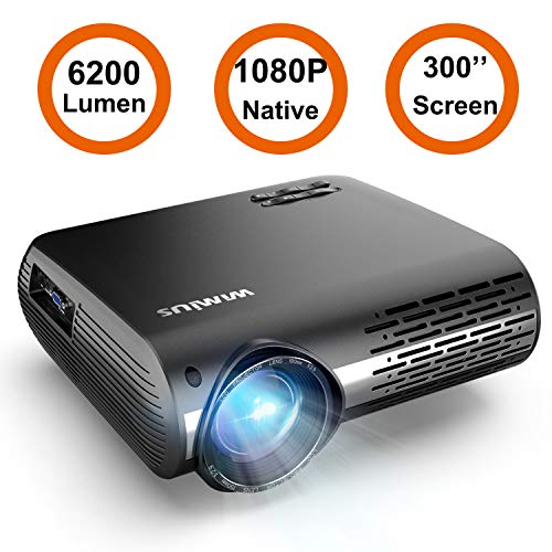 """WiFi Projector Bluetooth, WiMiUS 6000L Mini Projector Support 1080P&200"""" Display Video Projector Compatible with iOS…"""