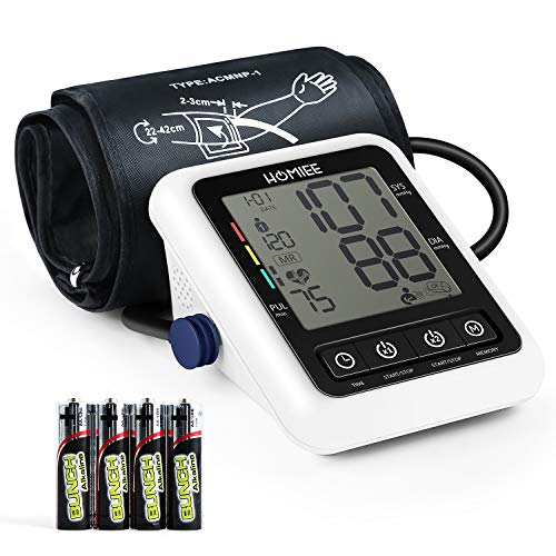 Blood Pressure Machine, HOMIEE Blood Pressure Monitor with AFIB Detection, 2 Users 240 Memories, 2.4 LCD Display & 22-42CM Large Arm Cuff, 4X AA Batteries Included, No Adapter, White