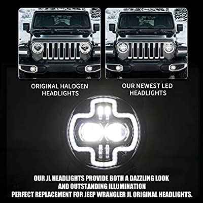 FieryRed Upgraded 9 inch LED Headlights with DRL for Jeep Wrangler JL 2020-2020, High Low Beam Function Halo Angel Eyes Headlight, OEM, 1 Year Warranty: Automotive