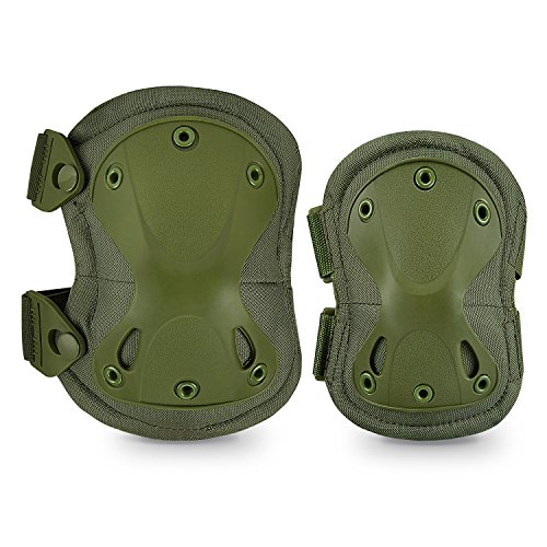 Military Army Tactical Combat Knee & Elbow Protective Pads Skate Knee Pad for Outdoor Sports Tactical Combat Hunting CS Paintball Game Skate & Skateboarding Protective Pads,(Army Green) Cs Pad