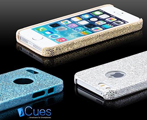 Apple iPhone SE / 5S / 5 | iCues Glitter Case Argent | [Protecteur d'écran inclus] Glitter Glitter Strass luxe bling dames femmes filles protection de la peau Housse de protection Couverture Coque Hou