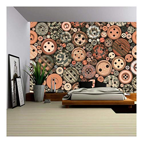 - wall26 - Random Color Buttons Seamless Vintage Pattern Tile - Removable Wall Mural   Self-adhesive Large Wallpaper - 66x96 inches