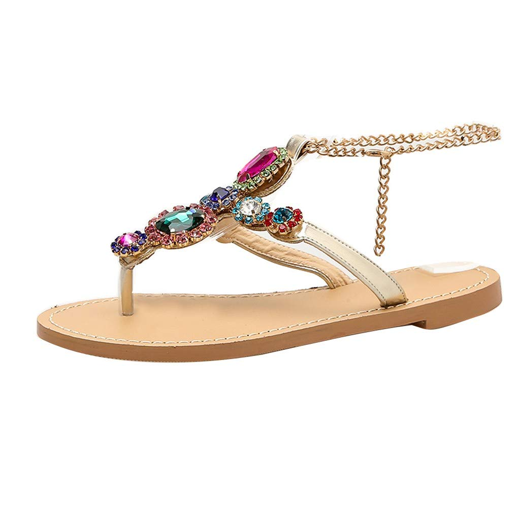 Women Rhinestones Sandals Bohemia Clearance Sale, NDGDA Ladies Chains Gladiator Flat Crystal Flip Flops Sandals by NDGDA Women Sandals