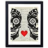 Sugar Skull Love Upcycled Vintage Dictionary Art Print 8x10