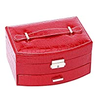 happyday04 Red PU Leather High-end Jewelry Box Multi-Layer Travel Portable Jewelry Box Creative Earrings Storage Box