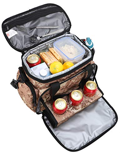 Camo Cooler Bag - MIER Adult Insulated Lunch Bag Tote Leakproof Soft Cooler Bag with 3 Cup Holders for Travel, Picnic, Office, Camping, Car, Kayak, Beach, Sports, 18Can, Camo