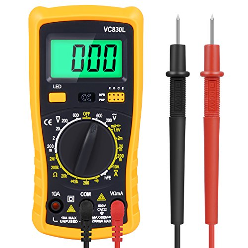 Amoner Auto-ranging Electronic Amp Volt Ohm Voltage Meter Multimeter with Diode,AC Current,Transistors,Temperature,Resistance Test Tester and Emerald-green Backlit LCD Display (Digital Lcd Display Multimeter)
