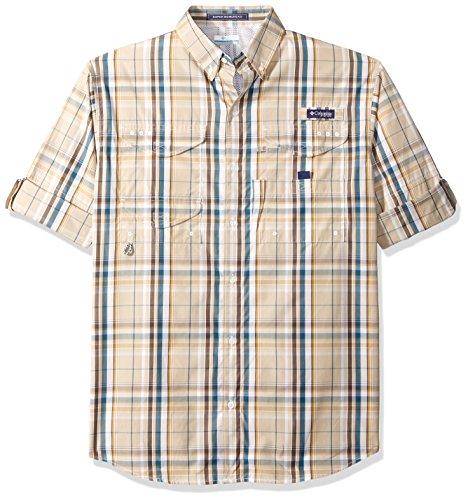 Columbia Mens Super Bonehead Classic Long Sleeve Shirt, Fossil Plaid, Medium