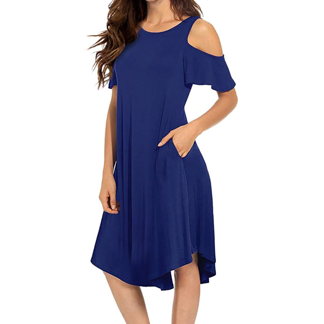 Besde Women's Casual Cold Shoulder Midi Dress Short Sleeve Swing Dress with Pockets