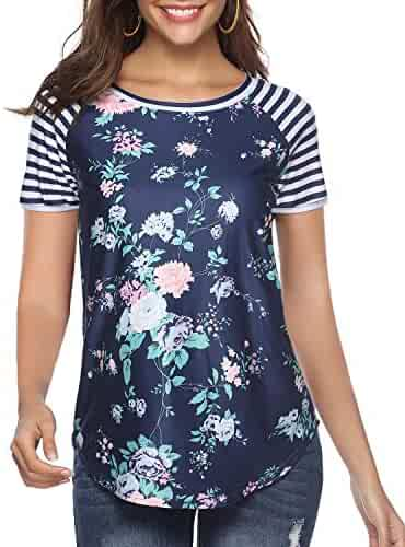 CEASIKERY Women's Blouse 3/4 Sleeve Floral Print T-Shirt Comfy Casual Tops for Women ((US 18-20) XX-Large, Short Sleeve Floral 015)