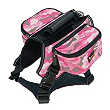 Ondoing Dog Backpack Pet Harness Reflective Adjustable Saddle Bag Training Hiking Camping for Medium and Large Dogs XL,Camo Pink