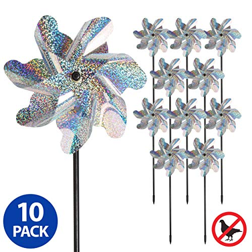 Tapix Bird Blinder Repellent Pinwheels, Effectively Keep Birds Away – Holographic Pin Wheels for Yard and Garden 15 inch Pinwheel Bird Deterrent, 10 Pack Garden Spinners, Great Geese Deterrent Product