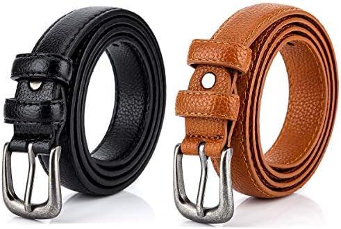 Women Belts Pack of 2 Radmire Skinny Leather Belts for Jeans Dress Pants