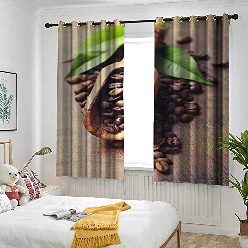 Beihai1Sun Coffee Thermal Insulating Blackout Curtains Beans on The Old Table Morning Drink Waking Up Rustic Theme Leaves Beans Embossed Thermal Weaved Blackout W 63