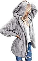 luvamia Women Fuzzy Fleece Open Front Pocket Hooded Cardigan Jacket Coat Outwear