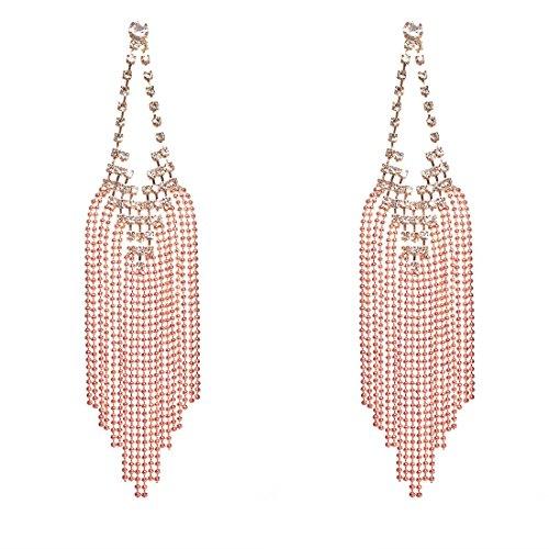 NLCAC Sparkling Tassel earring Copper Crystal Rose Gold Wedding Bridal Pendant Earring