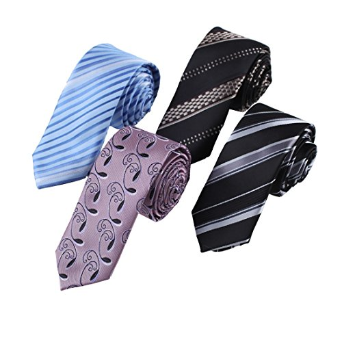 Silk Striped Neckwear - EASF0018 Fashion Men's Silk Striped Skinny Ties Discount For Husband Multicoloed 4pc Skinny Ties Set By Epoint