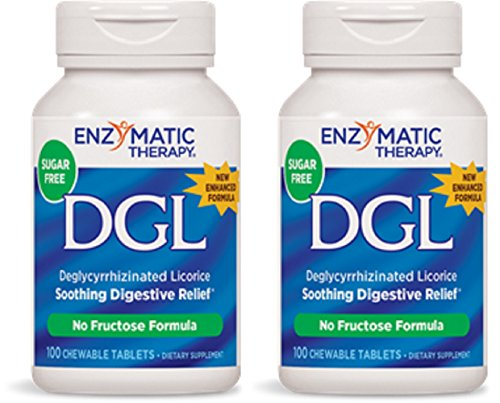 Enzymatic Therapy, DGL (Without Fructose), 100 Chewable Tablets. Pack of 2 ()